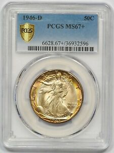 Click now to see the BUY IT NOW Price! 1946 D PCGS MS 67  WALKING LIBERTY HALF  TRULY IMPRESSIVE  SUPERB COLORS  PQ