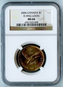 2006 CANADA NGC MS66 FLYING LOON DOLLAR $1  OLYMPIC RINGS ON COIN