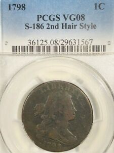 1798 1CT  DRAPED BUST LARGE CENT  PCGS  VG08   S186    2ND HAIR STYLE  18 01166