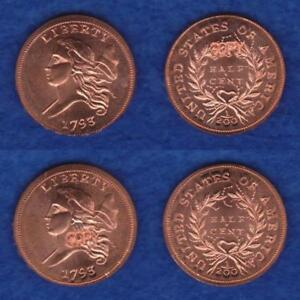 GALLERY MINT MUSEUM TWO 1793 HALF CENTS MATCHED PAIR       RETT