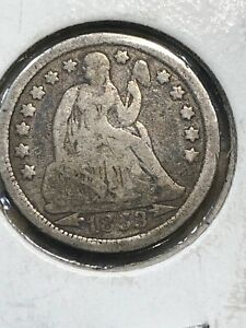 1853 W ARROWS SEATED LIBERTY SILVER HALF DIME  3554