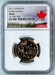 2011 CANADA NGC MS66 PARKS CANADA LOONIE DOLLAR $1  AWESOME COIN