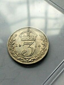 1910 MAUNDY G. BRITAIN 3 PENCE UNC BEAUTIFUL COIN      HIGH GRADE