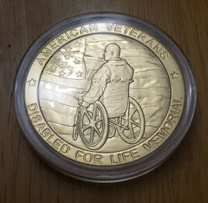 GOLD TONE AMERICAN VETERANS DISABLED FOR LIFE MEMORIAL COMMEMORATIVE COIN