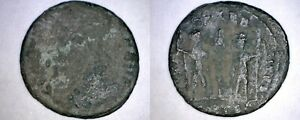 4TH CENTURY AD ROMAN UNKNOWN EMPEROR AE17   2 SOLDIERS WITH SPEARS 1 STANDARD