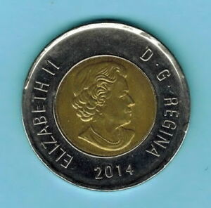 CANADA 2014 2 DOLLARS COIN CIRCULATED ELIZABETH II 4TH PORTRAIT  863