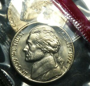 JEFFERSON FIVE CENTS NICKEL 1972 D 5C IN OGP MINT CELLO UNCIRCULATED BU