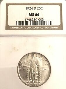 1924 D NGC MS 66 U.S. STANDING LIBERTY SILVER QUARTER  SEE OTHER  COINS