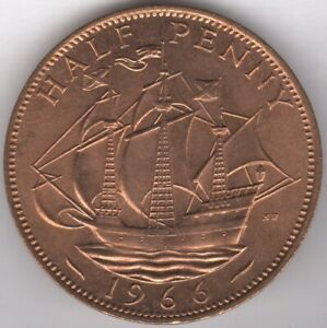 1966 ELIZABETH II HALFPENNY COIN FROM TUBE | PENNIES2POUNDS
