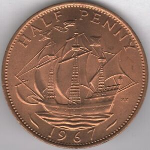 1967 ELIZABETH II HALFPENNY COIN FROM TUBE | PENNIES2POUNDS