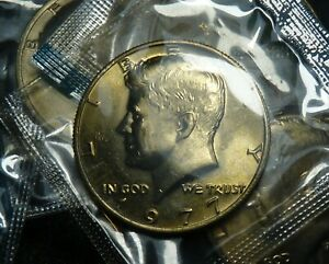 1977 P KENNEDY 50C HALF DOLLAR UNCIRCULATED BU IN OGP MINT CELLO
