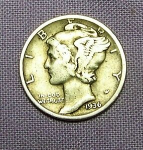 1936 D  DENVER  MINT SILVER MERCURY HEAD DIME     90623194