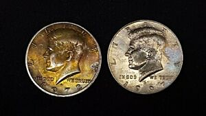 1972D & 1997D KENNEDY HALF DOLLARS   TONED