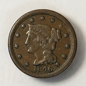 1846 BRAIDED HAIR 1C LARGE CENT    NICE MID GRADE    EARLY US COPPER LOTR134