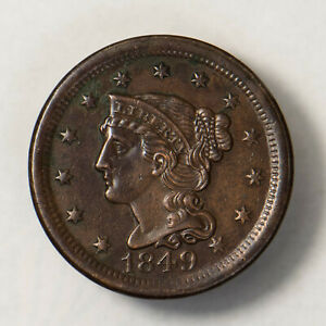 1849 BRAIDED HAIR 1C LARGE CENT    NICE HIGH GRADE     EARLY US COPPER LOTR136