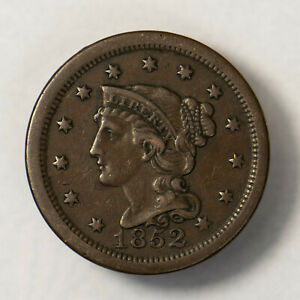1852 BRAIDED HAIR 1C LARGE CENT    NICE MID GRADE    EARLY US COPPER LOTR138