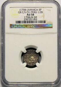 Click now to see the BUY IT NOW Price! JAMAICA    1758  5 PENCE GR C/S ON PERU 1/2R IN NGC AU 58 RR