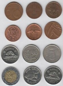 FOREIGN COIN LOT OF 12 UNIQUE COINS
