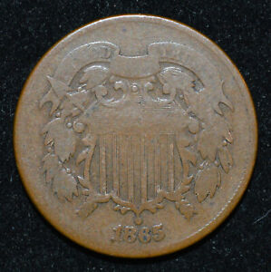 US 1865 2C RPD FS 1301  FS 992.5  SHARPLY REPUNCHED DATE ERROR COIN