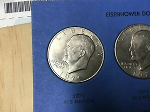 LOT OF 2 COINS   1971 P & 1971 D EISENHOWER 'IKE' DOLLARS FROM MY SET WHOLESALE
