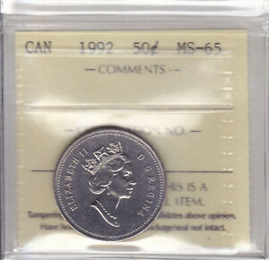 Click now to see the BUY IT NOW Price! 1992 ICCS MS65 50 CENTS CANADA FIFTY HALF DOLLAR