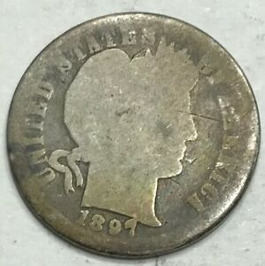 1897 P 10C BARBER DIME 90  SILVER COIN