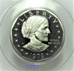 1979 PROOF SUSAN B ANTHONY DOLLARS CHOICE TO GEM CAMEO TYPE 1