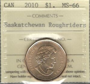 Click now to see the BUY IT NOW Price! 2010 SASKATCHEWAN ROUGHRIDERS $1.00 ICCS MS 66 GEM  BU    STUNNING CANADA LOONIE