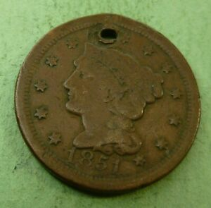 1851 LARGE CENT   LC51 HOLED