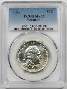 1927 VERMONT 50C PCGS MS 63 EARLY SILVER COMMEMORATIVE HALF DOLLAR