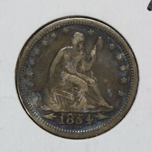 1854 25C SEATED LIBERTY QUARTER WITH ARROWS NICE DETAIL LOTN479