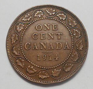 1914 LARGE CENT F VF    NICE BETTER DATE EARLY KING GEORGE V CANADA PENNY