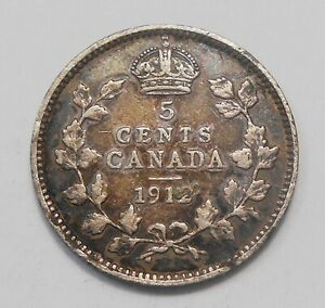 1912 FIVE CENTS SILVER F VF   NICE EARLY KING GEORGE V OLD CANADA HALF DIME