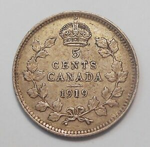 1919 FIVE CENTS SILVER VF  NICE HIGH GRADE KING GEORGE V OLD CANADA HALF DIME 5