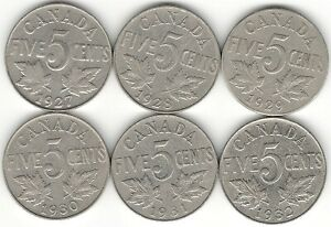 1927 1928 1929 1930 1931 1932 FIVE CENTS F  6  NICE KING GEORGE V CANADA NICKELS