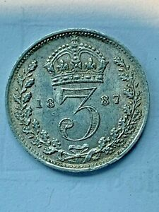 1887 MAUNDY G. BRITAIN 3 PENCE  VICTORIA JUBILEE HEAD