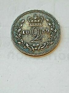 1839 MAUNDY G. BRITAIN 2 PENCE  VICTORIA YOUNG HEAD