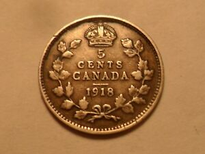 1918 NICE CANADA 92.5  SILVER 5 CENT MINTAGE 6 052 298
