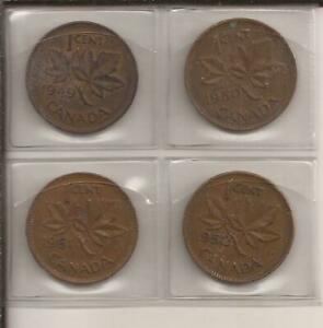 1949 TO 1952 CANADA COPPER ONE CENT LOT