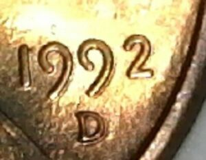 1992 D LINCOLN MEMORIAL CENT WITH ERROR ON DATE AND MINT MARK.