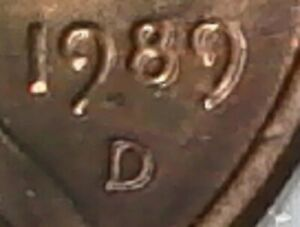 1989 D LINCOLN MEMORIAL CENT WITH ERROR ON DATE AND MINT MARK     CHEAP  .  1