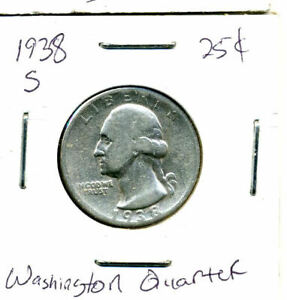 1938 S WASHINGTON QUARTER 90  .900 SILVER US 25 CENT U.S AMERICAN NICE COIN 711