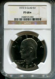 1973 S PROOF EISENHOWER DOLLAR NGC PF68  STAR CAMEO   SUPERIOR EYE APPEAL