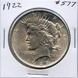 1922 $1 PEACE DOLLAR. UNCIRCULATED    FROM ORIGINAL ROLL. LOT 680