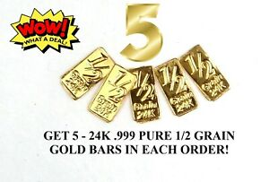 FIVE  5    1/2 GRAIN PURE 24 CARAT GOLD BULLION BARS IN CERTIFIED BLISTER PACK