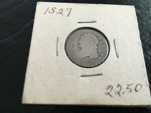 1827 US SILVER CAPPED BUST 10 CENT DIME COIN