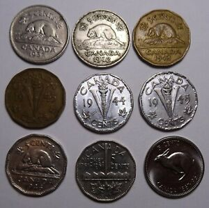 CANADA 5 CENTS  COINS CANADIAN NICKEL  9 COIN LOT