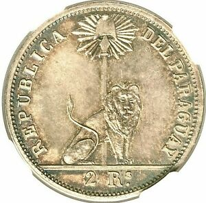 Click now to see the BUY IT NOW Price! 1868 PARAGUAY REPUBLIC MARISCAL LOPEZ SILVER PATTERN 2 REALES NGC GEM MS 65
