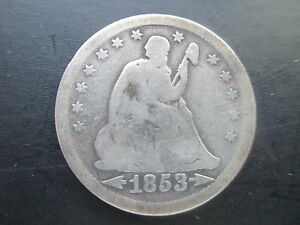 1853 SEATED LIBERTY QUARTER DOLLAR 900 SILVER VARIETY 2
