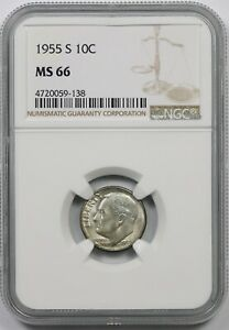 1955 S 10C NGC MS 66 ROOSEVELT DIME